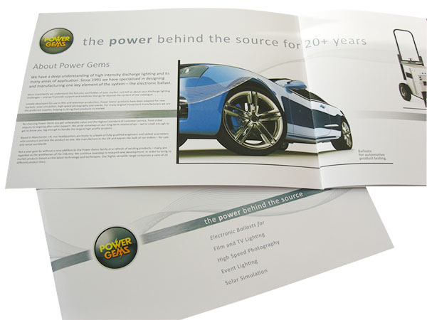 Brochure produced by Words Are Everywhere for Power Gems, Manchester-based ballast manufacturer