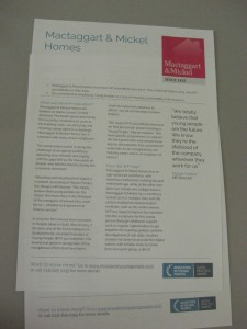 Printed case study by Edinburgh copywriter, Gill Booles, for Investors In Young People