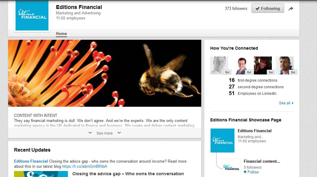 Editions Financial LinkedIn company page