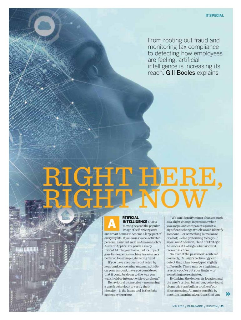 AI article for CA magazine by Gill Booles writer in Edinburgh specialising in technology