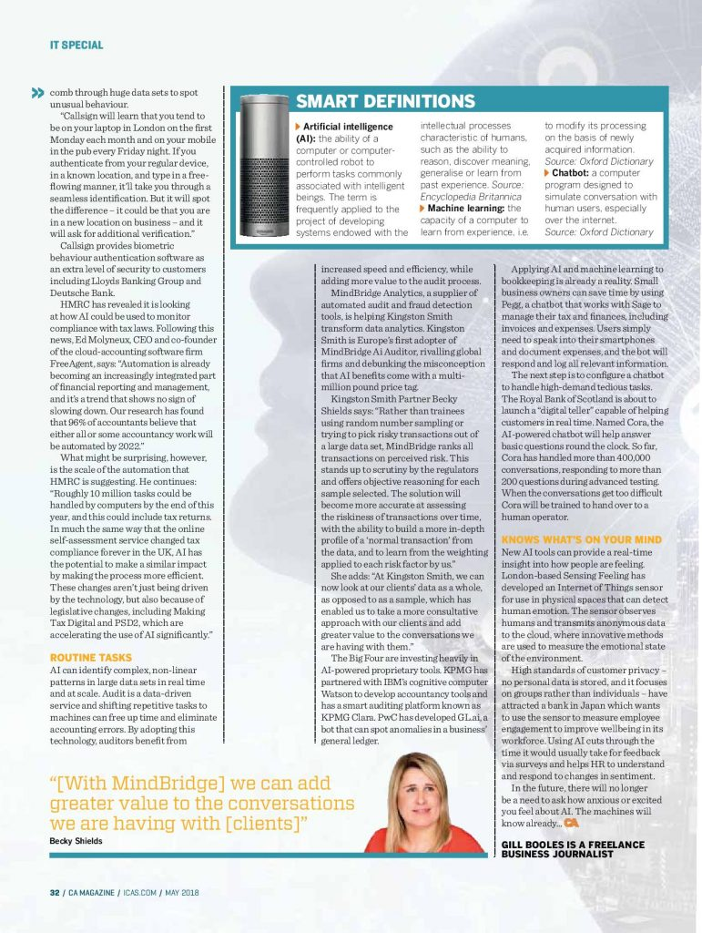 AI feature for CA magazine by technology writer Gill Booles of Words Are Everywhere