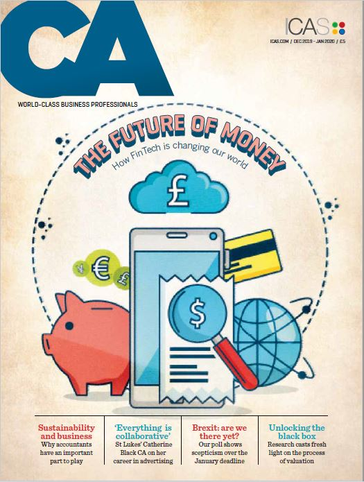 Front cover of The CA magazine, Dec 2019 issue with fintech cover feature by Edinburgh writer Gill Booles Words Are Everywhere